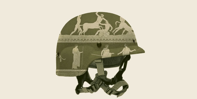 army helmet covered with greek illustrations