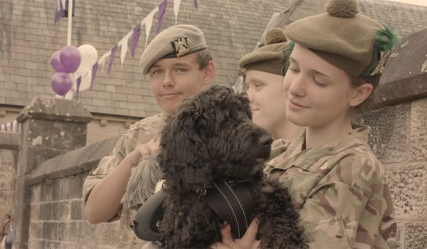 Army cadets with dog